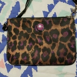 Coach wristlet purple leopard